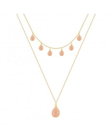 Collar piedra turquesa Facetada Forma forma de pera en Oro
