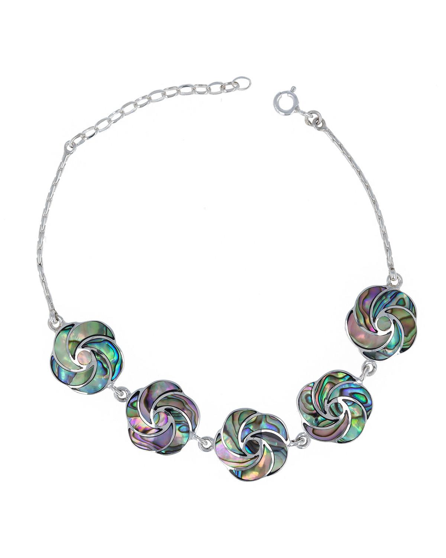 Bracelet en fleur de nacre abalone effet spirale sur chaîne argent 925