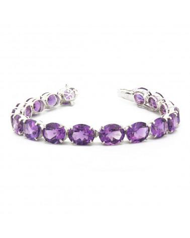 925 Sterling Silver Amethyst Oval Shape Bracelet