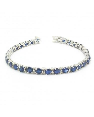 925 Sterling Silver Sapphire Diamonds Bracelet