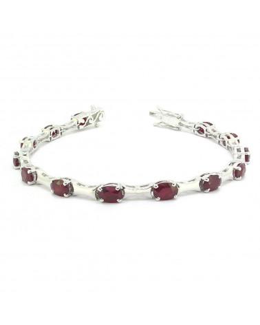 925 Sterling Silver Ruby Oval Shape Bracelet