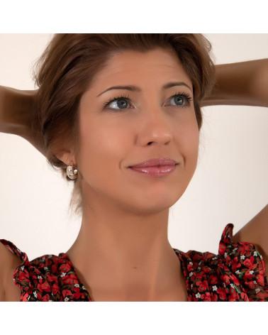 Schmuck-Geschenk-Symbol Baum des Lebens-Ohrringe-Weiss Perlmutt-Silber-Oval-Damen