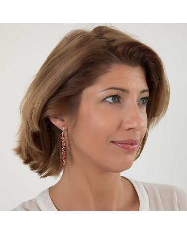 Geschenk für Frauen-Ohrhänger-Rote Koralle-Sterling Silber-Frau