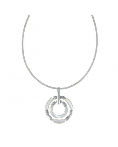 925 Sterling Silver White Mother-of-pearl Necklace