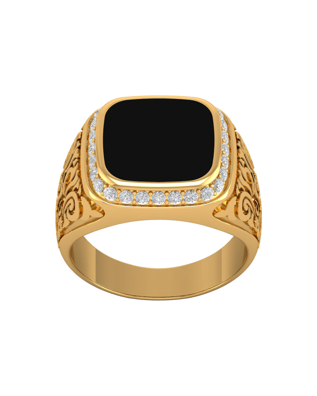 Anillo Biker Ónix Diamantes Oro