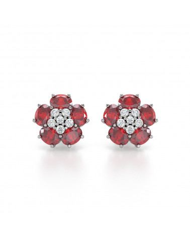 925 Silber Rubin Diamanten Ohrringe