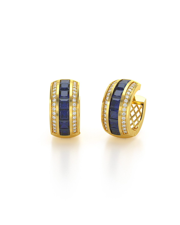 Pendientes  de Oro 14K Zafiro y Diamantes