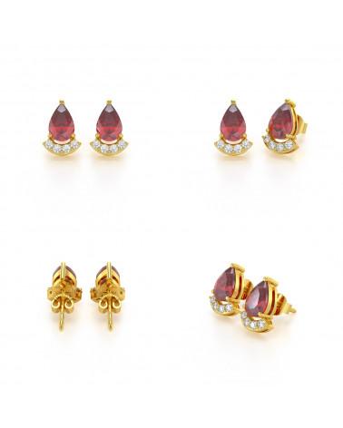 Pendientes  de Oro 14K Rubi y Diamantes