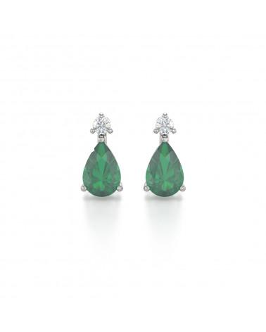 14K Gold  Smaragd Diamanten Ohrringe