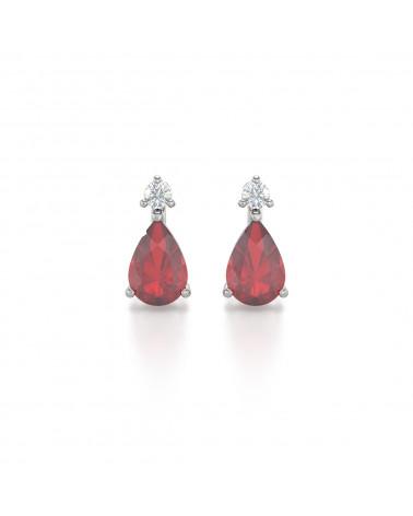 14K Gold  Rubin Diamanten Ohrringe