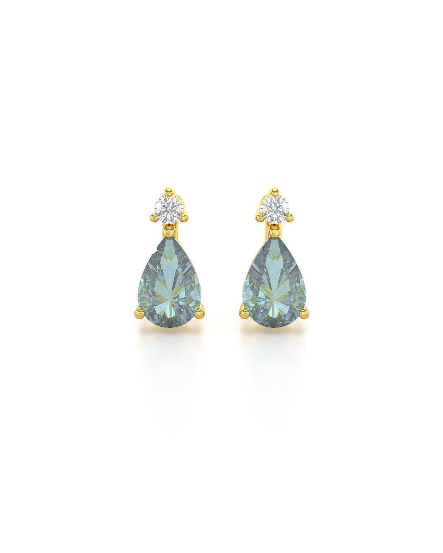 Orecchini in Oro 14K Acquamarina Diamanti