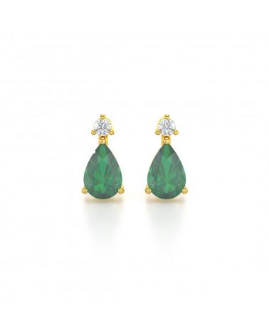 Pendientes  de Oro 14K Esmeralda y Diamantes