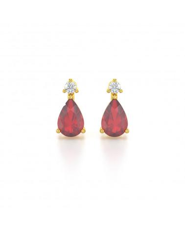Orecchini in Oro 14K Rubino Diamanti