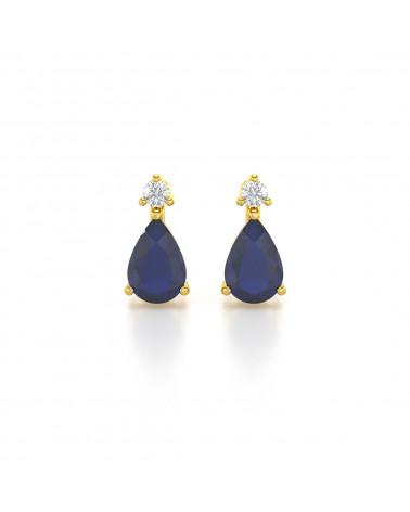 Orecchini in Oro 14K Zaffiro Diamanti