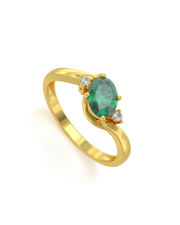 Anelli Oro Smeraldo diamanti 1.58grs