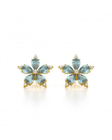 Pendientes  de Oro Aguamarina y Diamantes