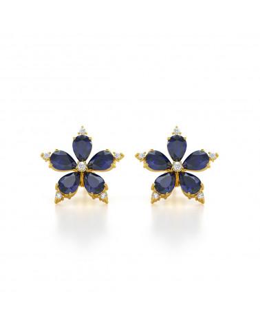 Gold Saphir Diamanten Ohrringe
