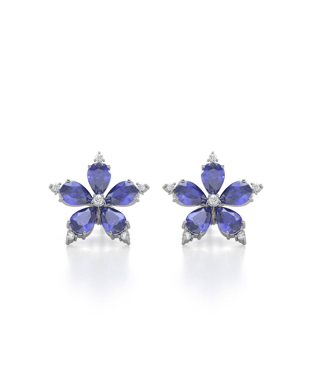 Orecchini in Tanzanite Diamanti Argento 925
