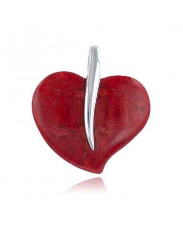 925 Sterlingsilber Koralle Heart Shape Anhänger