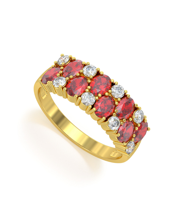 Anillo de Oro Rubi y diamantes 2.524grs