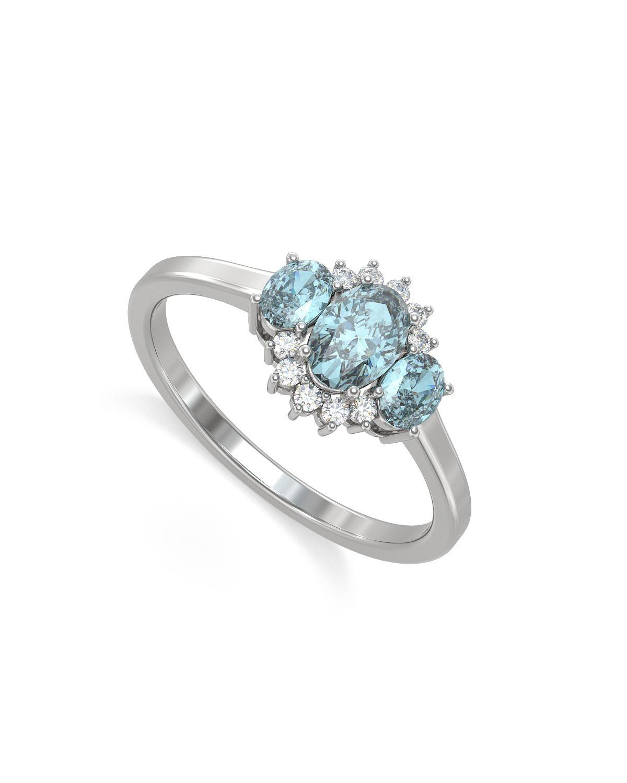 Anelli Oro Acquamarina diamanti 1.358grs
