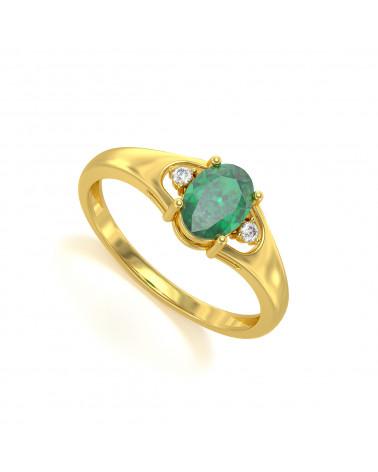 Anillo de Oro Esmeraldas y diamantes 1.32grs
