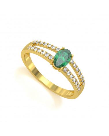 Anelli Oro Smeraldo diamanti