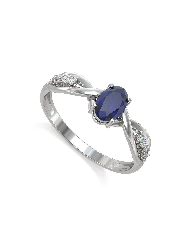 Anillo Zaphir 4 Diamantes Plata de Ley 925