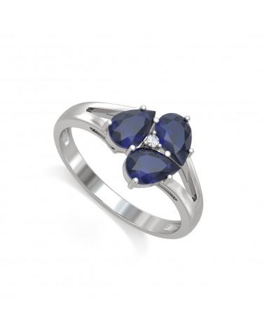Anelli Zaffiro diamanti Argento 925 2.5grs