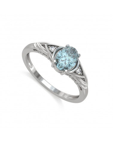 Anillo Aguamarina y diamantes Plata de Ley 925