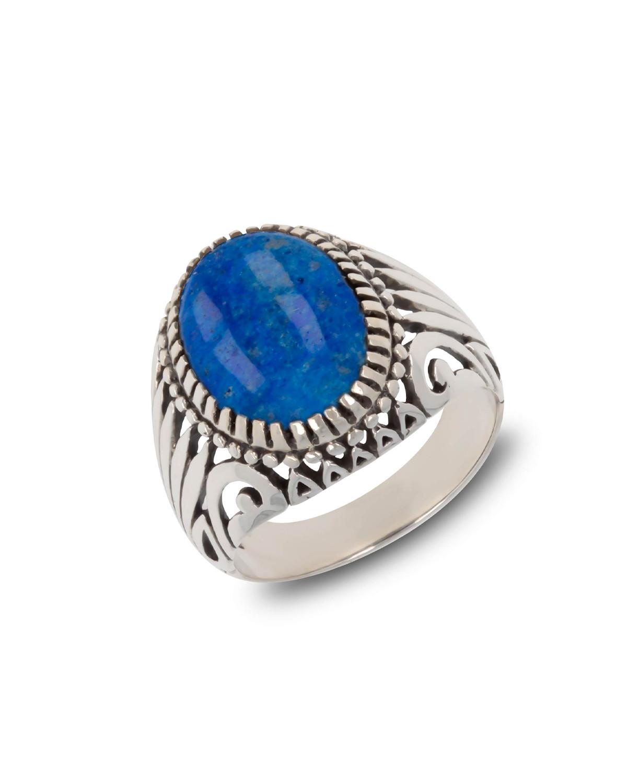 925 Sterlingsilber Lapis Lazuli Ovale Form Biker Ringe