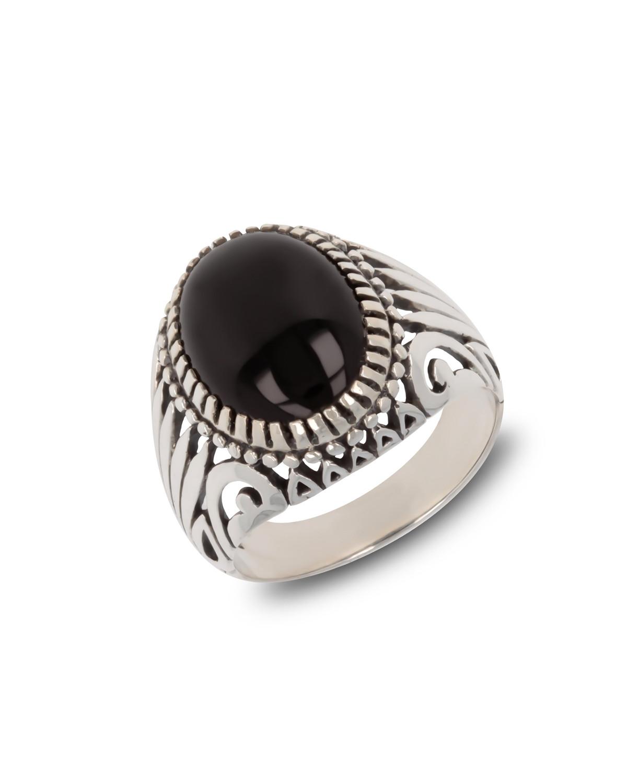 Gealterter Effekt 925 Sterlingsilber Onyx Biker Ringe