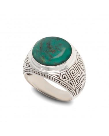 Anillo artesanal de diseño para hombre: anillo de motociclista cabujón de labradorita con plata de ley 925 de rodio