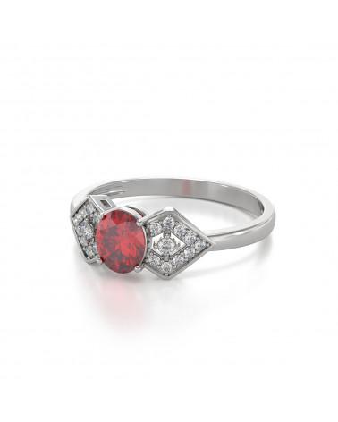 Anillo Rubi y diamantes Plata de Ley 925