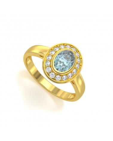 Anillo de Oro Aguamarina y diamantes