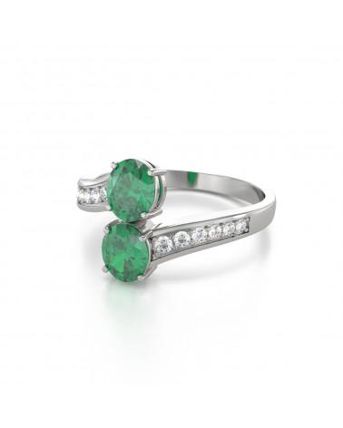 Anillo Esmeraldas y diamantes Plata de Ley 925 ADEN - 4