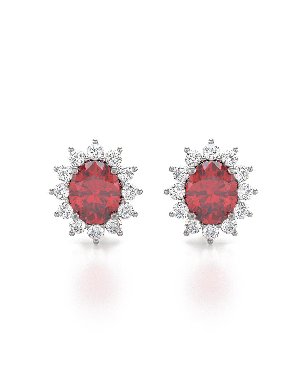 Orecchini in Rubino Diamanti Argento 925