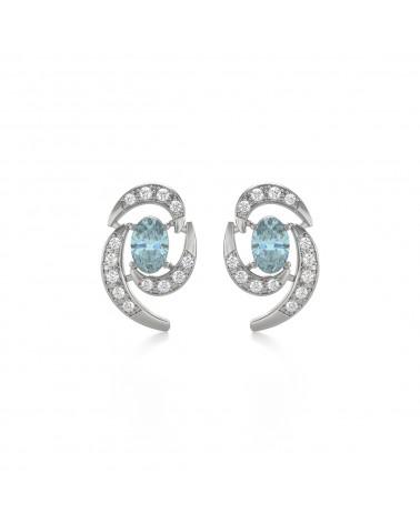Pendientes Aguamarina y Diamantes Plate de Ley 925 ADEN - 1