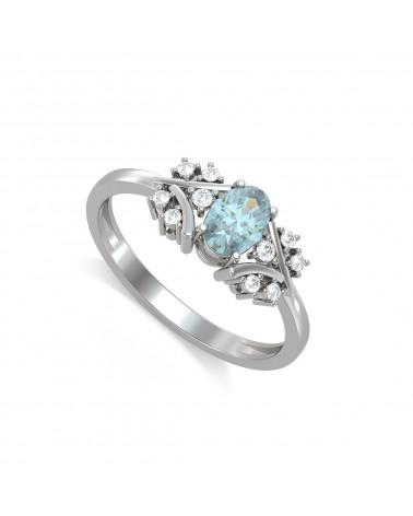 Anelli Oro Acquamarina diamanti 1.556grs ADEN - 1