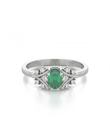 Anelli Oro Smeraldo diamanti 1.556grs ADEN - 3