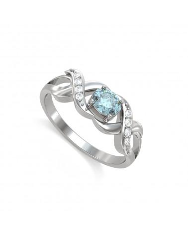 Anelli Oro Acquamarina diamanti 2.684grs ADEN - 1