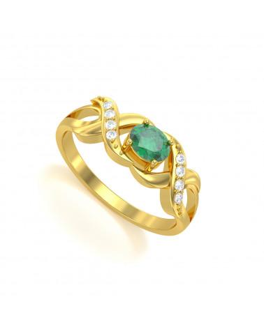 Anillo de Oro Esmeraldas y diamantes 2.684grs ADEN - 1