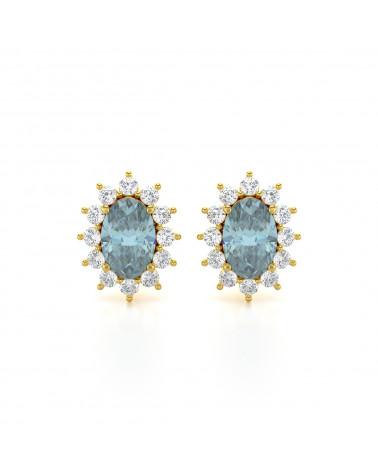 Orecchini in Oro Acquamarina Diamanti ADEN - 1