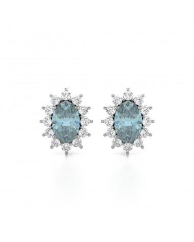 Pendientes  de Oro Aguamarina y Diamantes ADEN - 1