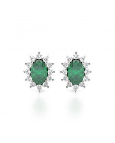 Pendientes Esmeralda y Diamantes Plate de Ley 925 ADEN - 1