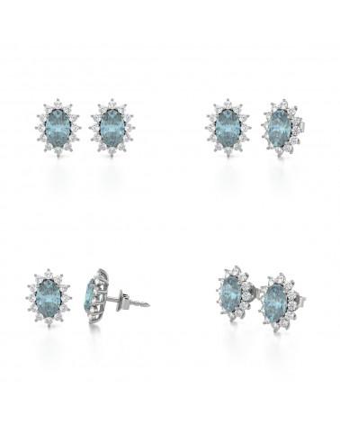 Pendientes Aguamarina y Diamantes Plate de Ley 925 ADEN - 2