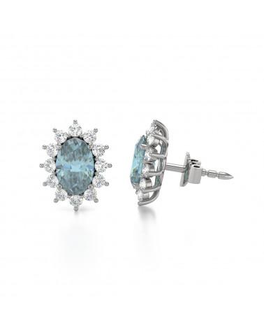 Pendientes Aguamarina y Diamantes Plate de Ley 925 ADEN - 4