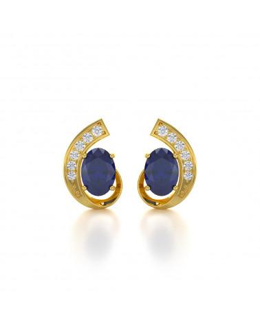 Pendientes  de Oro 14K Zafiro y Diamantes ADEN - 1