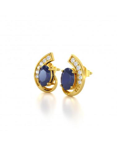Pendientes  de Oro 14K Zafiro y Diamantes ADEN - 4