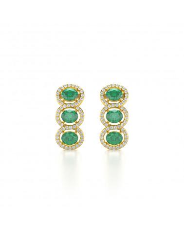 Orecchini in Oro 14K Smeraldo Diamanti ADEN - 1